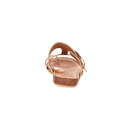 4eursole Cool Walk Womens Toe Ring Tan Sandal Flat - Rkh157