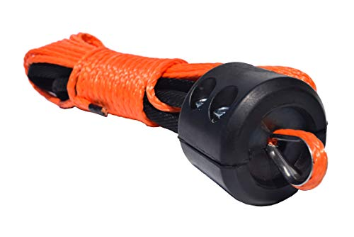 - QIQU Winch Rope 3/16 inch Synthetic Winch Rope for Electronic Winch on ATV/UTV/Snowmobile with Sleeve and Thimble (3/16''x50 feet w Stopper, Orange)