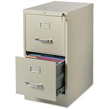 Lorell 2 Drawer Vertical File, 15 By 22 By 28, Putty