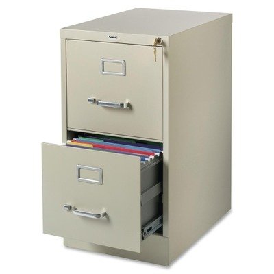 Lorell 2-Drawer Vertical File, 15 by 22 by 28, Putty