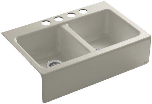 KOHLER K-6534-4U-G9 Hawthorne Apron-Front, Undercounter Kitchen Sink, Sandbar ()