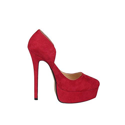 fereshte Men's Women's Crossdresser Drag Queen Closed Toe Slip On Platform Stiletto High Heels Party Pumps Red 37gL3
