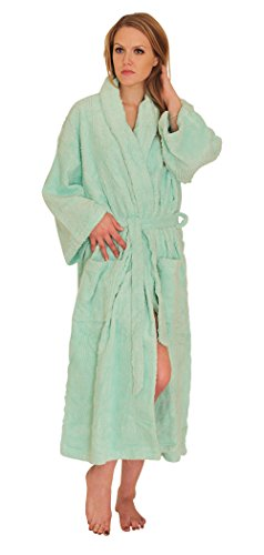 - NDK New York Women's Chenille Robe Mid Calf Length 100% Cotton Shawl Collar