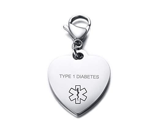 VNOX Type 1 Diabetes Medical Alert Symbol Stainless Steel Heart Shape ID Tag Keychain,Charm for Bracelet Handmade Jewelry