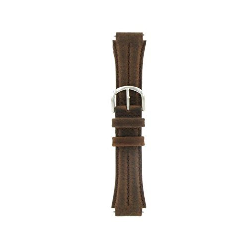 Watch Band 18mm Genuine Leather/Nylon Brown Sport Replacement Fits Timex Expedition and All Other Brands, By United Watchbands (Swiss Army Watch Band Loop)