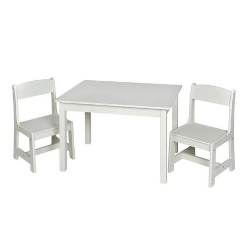 Giftmark Children's Rectangle Table w 2 Chair Set White Kids Furniture