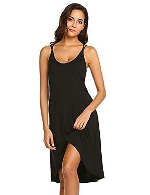 Ekouaer Women Nightgowns Sexy Lingerie Sleeveless Chemise Full Slip Sleeping Dress