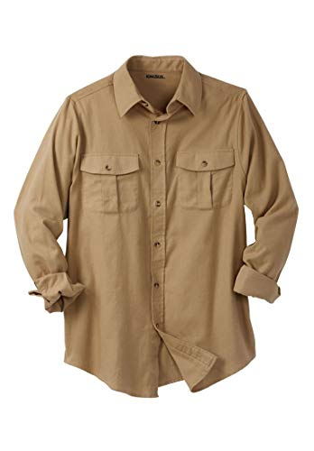 Tall Solid Double-Brushed Flannel Shirt, Khaki Big-3Xl ()
