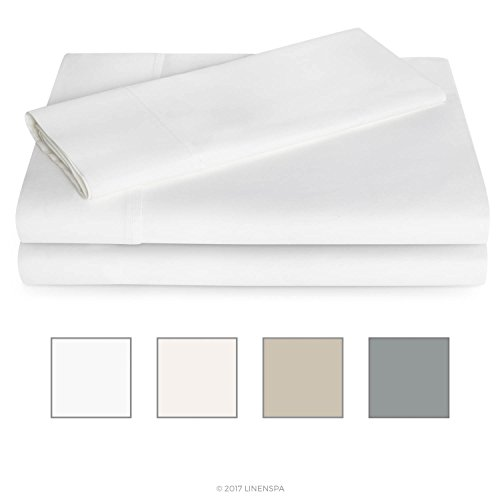 Linenspa 600 Thread Count Ultra Soft, Deep Pocket Cotton Blend Sheet Set - Twin - White (Bed Cotton Pima Sheets)