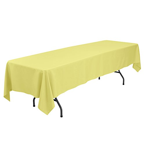 VEEYOO 60 x 126 inch Rectangular Solid Polyester Tablecloth for Wedding Restaurant Party Banquet Thanksgiving Reuseable, Yellow