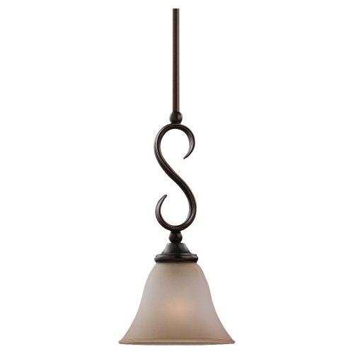 Sea Gull Lighting 61360-829 Rialto One-Light Mini Pendant, Russet Bronze Finish with Ginger - Finish Russet Glass