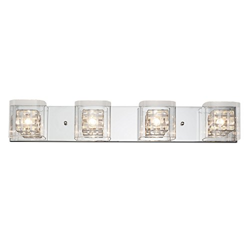Artika VAN4M-HD1 Metropolitan 4-Light Bulbs, 30-inches Wall Fixture with Dimmable Light and a Chrome Finish