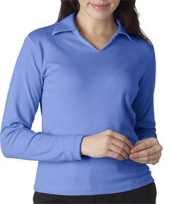 High Quality Ladies Egyptian Interlock Long Sleeve Polo Shirt - Cornflower, XL (Ladies Egyptian Interlock Polo)