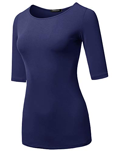 (SSOULM Women's 1/2 Sleeve Silky Stretchy Crewneck Slim Fit T-Shirt Top Navy 3XL )