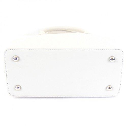 Pavini Damen Tasche Shopper Saffiano Leder wollweiß 12551 Reißverschluss RV-fach