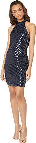 bebe Womens Sequin High Neck Halter Dress Navy 4 -