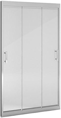 Mampara ducha_PdM_FRONTAL TRANSPARENTE 3 puertas correderas (160cm): Amazon.es: Bricolaje y herramientas