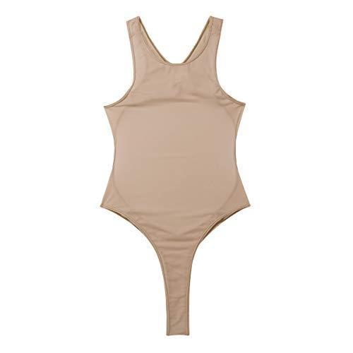 YiZYiF Women's Silk Unlined Thongs High Cut Bodysuit Breezy Sheer One Piece Swimsuit Nude One -