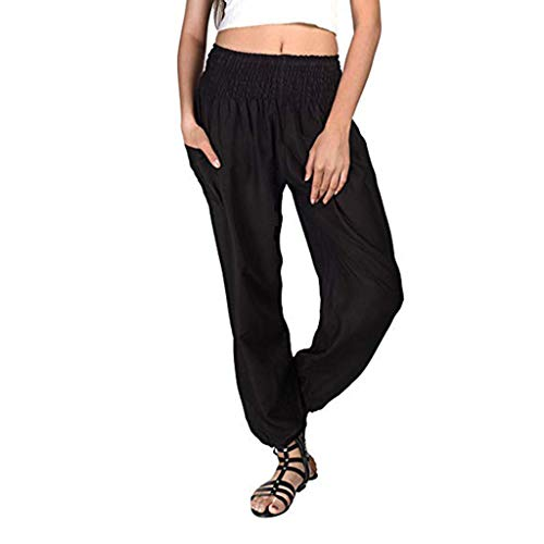 JOFOW Womens Pants Harem Solid Elastic Band Straight Leg Long Casual Sport Loose Comfy Yoga Sweatpants Summer Plus Size (3XL,Black) -