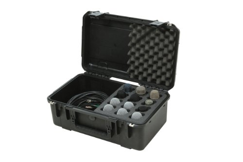SKB 3I-2011-MC12 iSeries Injection Molded Microphone Case with Foam for 12 Mics with Storage (Microphone Storage)