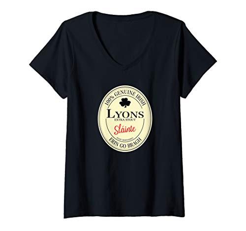 Womens Lyons Irish Last Name V-Neck T-Shirt