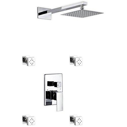 Kube Bath Aqua Piazza Chrome Brass Shower Set with 8-inch Square Rain Shower and 4 Body -