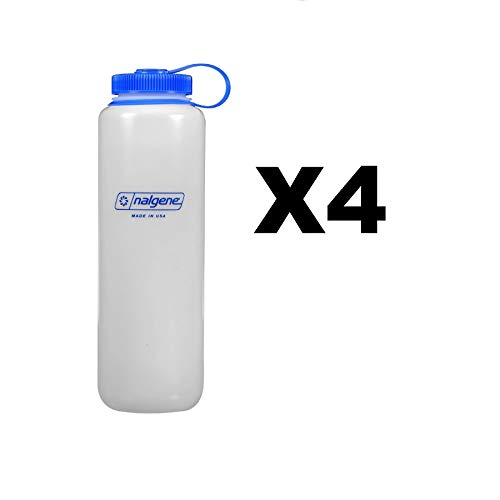 (Nalgene Ultralite 48oz Wide Mouth Water Bottle Natural BPA Free Safe (4-Pack))