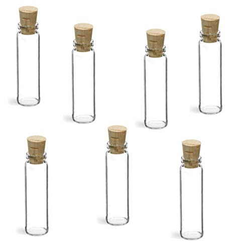 MagnaKoys 3 Dram 0.375 oz Clear Glass Lip Vials w/Cork Stoppers for Crafts Science Lab Oils Geocaching (7) ()