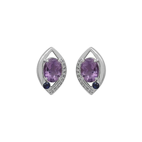 Brazilian Amethyst & Sapphire With White Topaz 925 Sterling Silver Marquise Shape Stud -