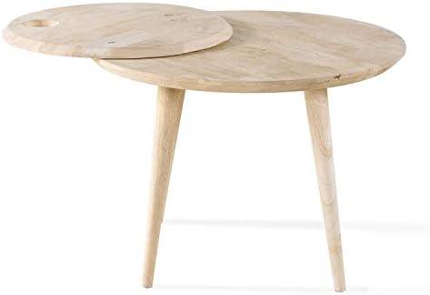 Dlm Design Table Basse Ronde En Hévéa Massif Avec Plateau