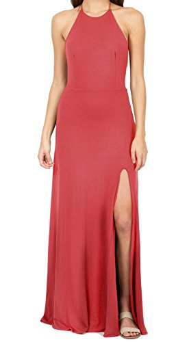 Womens Pink Slit Side Delacy Halter L Coral Maxi Dress Large 5w8XnZSnx7