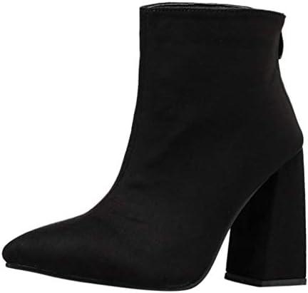 Allence Damen Boots Kurzschaft Wildleder Stiefel mit Blockabsatz Frauen High Heels Schlüpfen Stiefeletten Gürtelschnalle Boots Schwarz Gr.35-39