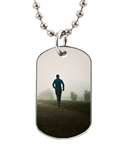 Embridge Custom Workout Motivational Oval Dog Tag with one side photo and the other side is smoothly alumminum surface