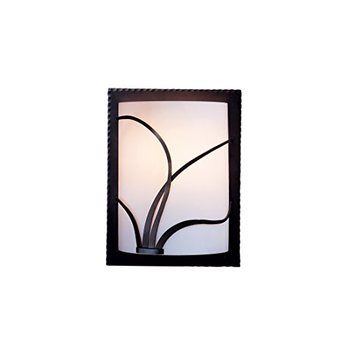 Hubbardton Forge 205750-1087 Forged Reeds Sconce, White Art Glass Shade, Natural Iron Finish - Hubbardton Forge Forged Reeds