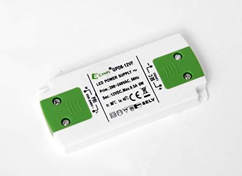 Trasformatore per LED 6W 12V, Tensione Costante, IP20, Trasformatore da Ac 220V a Dc 12V, Compatibile con strisce LED GANPE GPD6-12VF