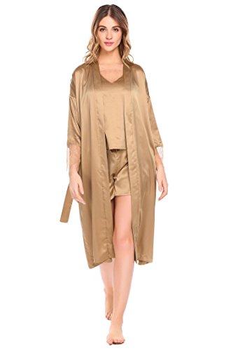 Dozenla Women's 3 Piece Satin Robe Long Sleeve PJ Set Lace (Long Sleeve Satin Robe)