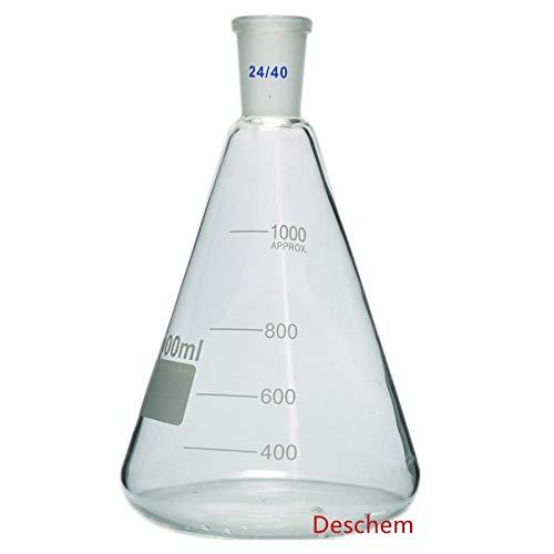 Glassware Flask - Deschem 1000ml,24/40,Glass Erlenmeyer Flask,1L,Conical Bottle,Lab Chemistry Glassware