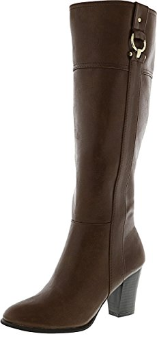 Alfani Women's Courtnee Wide Calf Cognac Knee-High Leather Equestrian Boot - (Leather Equestrian Boots)
