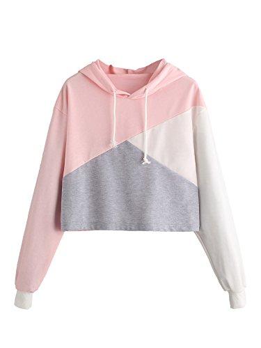 - ROMWE Women's Color Block Cut And Sew Panel Crop Hoodie Sweatshirt Pink M