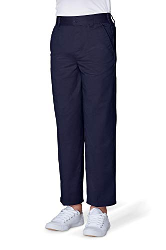 French Toast Boys' Husky Relaxed Fit Pull-on Twill Pant, Navy, 14H