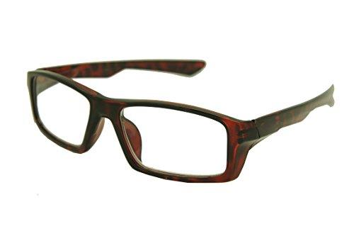ColorViper Sports basic square reader Unisex spring hinge Reading Glasses 55mm-17mm-132mm (shiny tortoise, - Small Glasses Framed