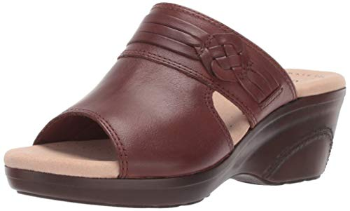 CLARKS Women's Lynette Trudie Sandal, Mahogany Leather, 085 M US