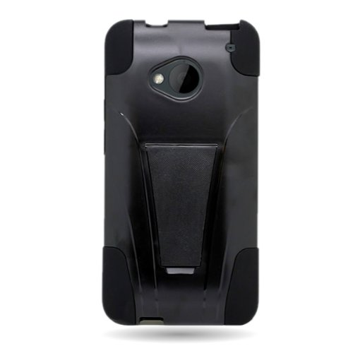 buy popular de053 a1759 HTC One M7 Case, CoverON [Dual Defense Series] Protective Hybrid Armor  Kickstand Phone Cover Case for HTC One M7 - Black & Black