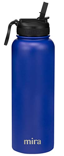 MIRA 40 oz Stainless Steel Water Bottle with Straw Lid | Vacuum Insulated Sports Thermos Flask Keeps Cold for 24 Hours, Hot for 12 Hours | BPA-Free Straw Cap | Blue