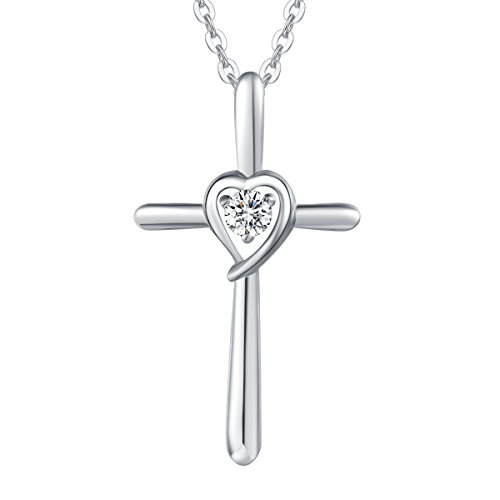 (Sterling Silver Cubic Zirconia Love Heart Crucifix Pendant Necklace for Women Girls with 18 Inch Sterling Silver Chain)