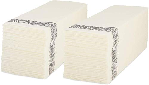 Premium Linen-Feel Hand Towels by Scrub It - Perfect for Guests, Dinner or Wedding Reception - Silver Floral Design - 12x17 Inches Unfolded -Pack of 100 Disposable Paper Towels (Linen Scrubs)