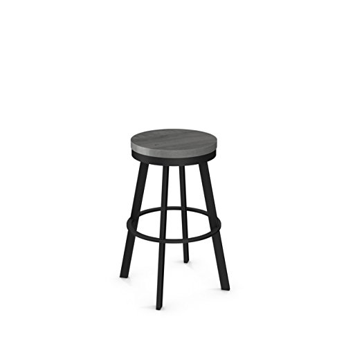 Amisco Warner Swivel Metal Counter Stool in Textured Black Metal and Light Gray Distressed Wood ()