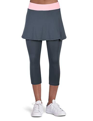 ANIVIVO Tennis Skirted Leggings Women with Pockets Capris Skorts Leggings with Skirts& Women Tennis Tight Pants Sports Skirted Pants Tennis Clothing(Grey-Apart Skirt,L)