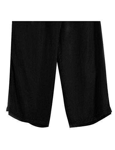 Youlee Mujeres Primavera Verano Cintura Elástica Derecho Pantalones Negro