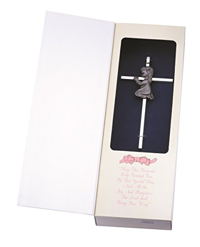 Silver Tone Wall Cross with Fine Pewter Praying Girl Casting, 6 Inch